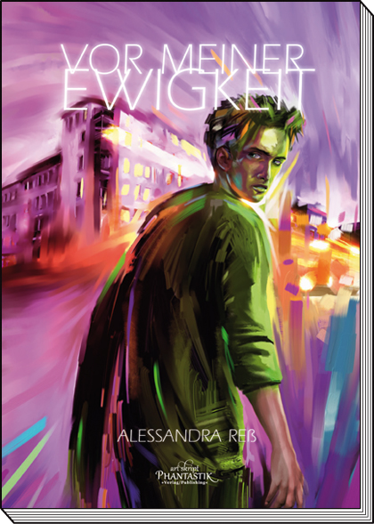 """Cover zu """"Vor meiner Ewigkeit"""", zeigt bunte Häuser und Mann, der über die Schulter schaut"""