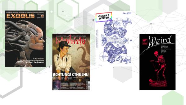 """Cover der Zeitschriften """"Exodus"""", """"Mephisto"""", """"Queer*Welten"""" und """"IF Annual -Weird"""""""