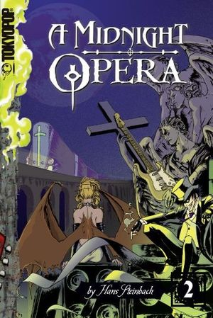 """Cover von """"A Midnight Opera, Volume 2"""". Zeigt einen Gitarre spielenden Steinengel, eine geflügelte Frau sowie einen Mann mit Zylinder."""