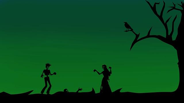 Drei Zombies und ein Rabe