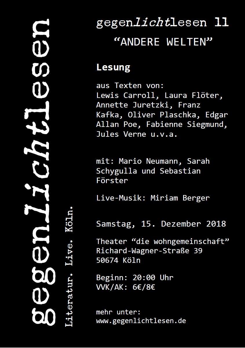 """Flyer zur Veranstaltung """"Gegenlichtlesen 11""""."""