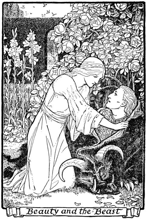 Klassische Illustration einer Frau, die einen Mann aus einem Biest-Kostüm zieht