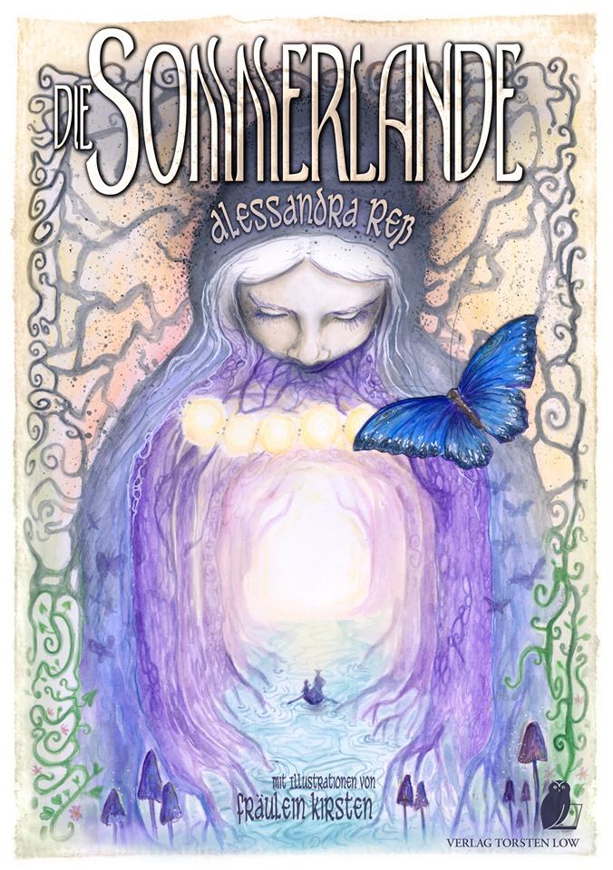 Cover der Sommerlande mit Frau, Schmetterling und Reisenden auf einem Boot