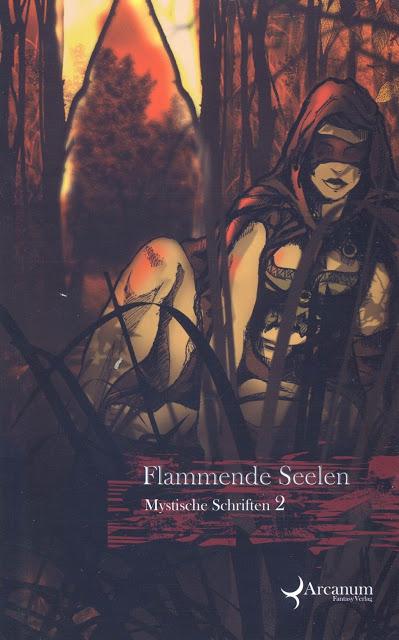 """Cover der Anthologie """"Mystische Schriften 2: Flammende Seelen"""". Abgebildet ist eine weibliche Figur mit verbundenen Augen."""