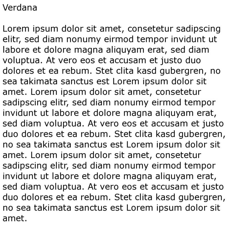 Linksbündiges Blindtext-Textbeispiel mit Verdana