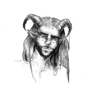Zeichnung des Gesichts eines Mannes mit Hörnern