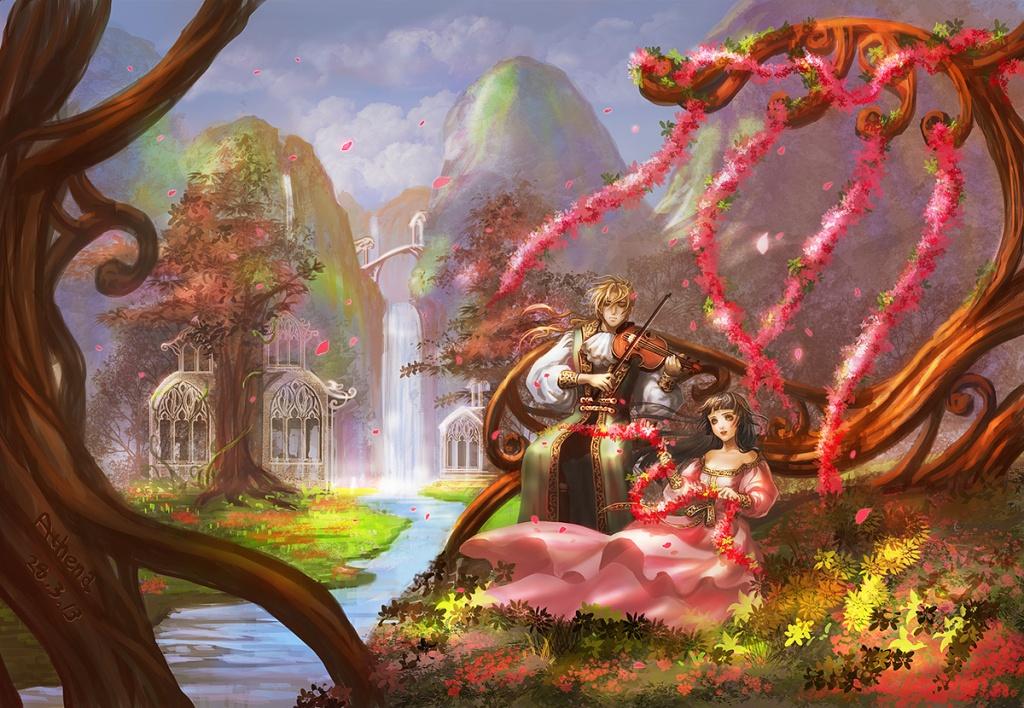 Illustration von einem Mann, der Geige spielt und hinter einer Frau steht. Sie sitzen in einer Wiese an einem Fluss.