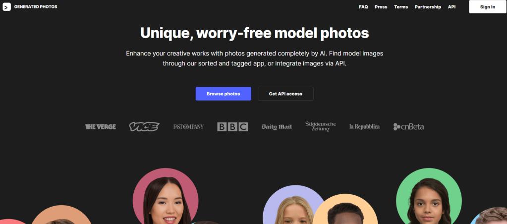 """Screenshot """"Generated Photos"""", zeigt Werbetext und Beispielfotos"""