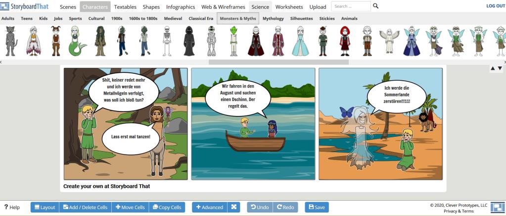 """Screenshot """"StoryboardThat"""" inkl. 3 Panels, Panel 1 zeigt Elf und Kentaur, Panel 2 zwei Figuren im Boot, Panel 3 u. a. einen wütenden Geist und einen Mantikor"""