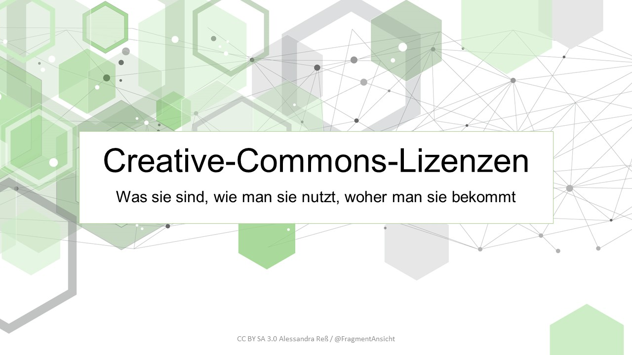 """Startseite der Powerpoint-Folien zu """"Creative-Commons-Lizenzen - Was sie sind, wie man sie nutzt, woher man sie bekommt"""""""