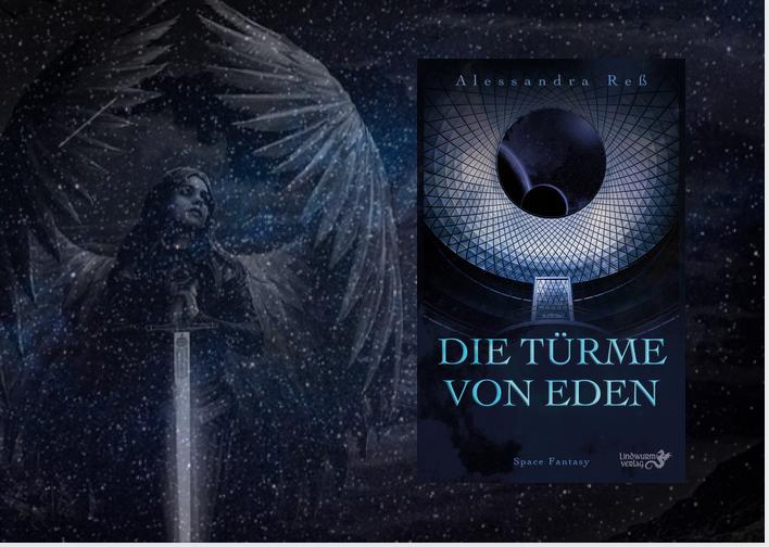 """Engel mit Schwert vor Sternenhimmel, daneben ein Cover mit Aufschrift """"Die Türme von Eden"""""""