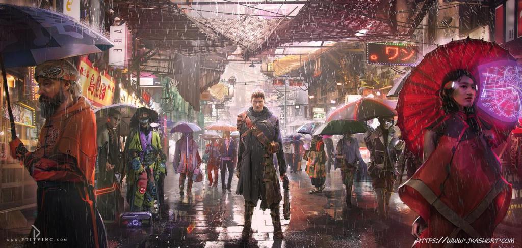 Illustration von belebter Straße mit Menschen, die Schirme tragen. Im Zentrum ein Mann mit zu Boden gerichteter Waffe.