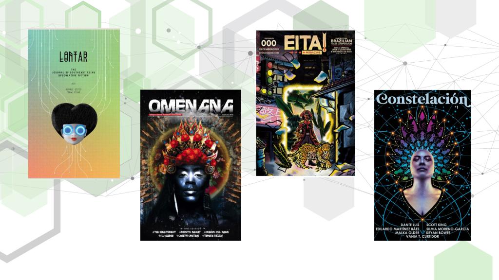 """Zeigt vier Magazincover: """"Lontar"""", """"Omenana"""", """"Eita!"""" und """"Constelación"""""""