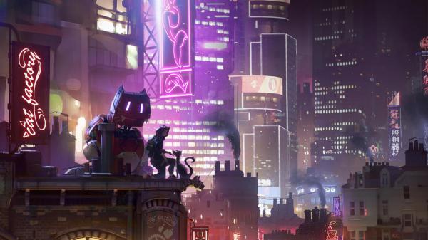 Futuristische Stadt mit vielen Neonlichtern. Eine humanoide Figur und ein großer Katzenroboter reden mit einer Katze.