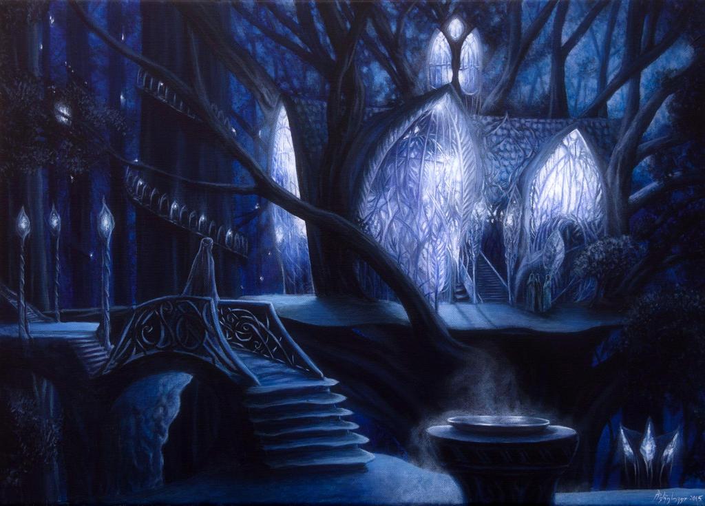 """Innere eines Elbenschlosses und eine Figur (evtl. Galadriel aus """"Der Herr der Ringe""""), die auf einer reich verzierten Brücke steht"""