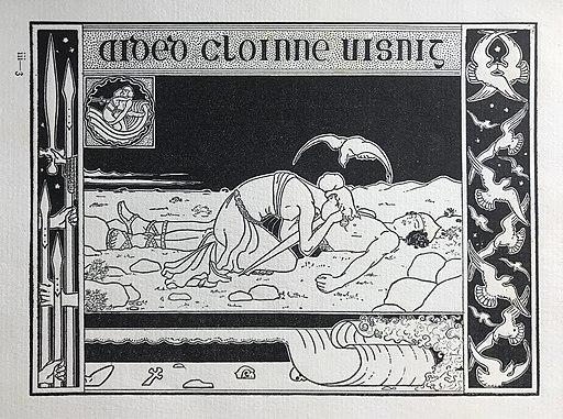 Illustration zeigt Frau, die über Männerleiche weint. Außerdem einige Vögel im Bild. Eine kleinere Illustration in der Bildecke zeigt das Pärchen eng umschlungen.