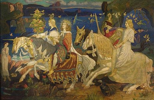 Vier gold umschienene ReiterInnen auf Pferden, im Hintergrund eine weitere Frau