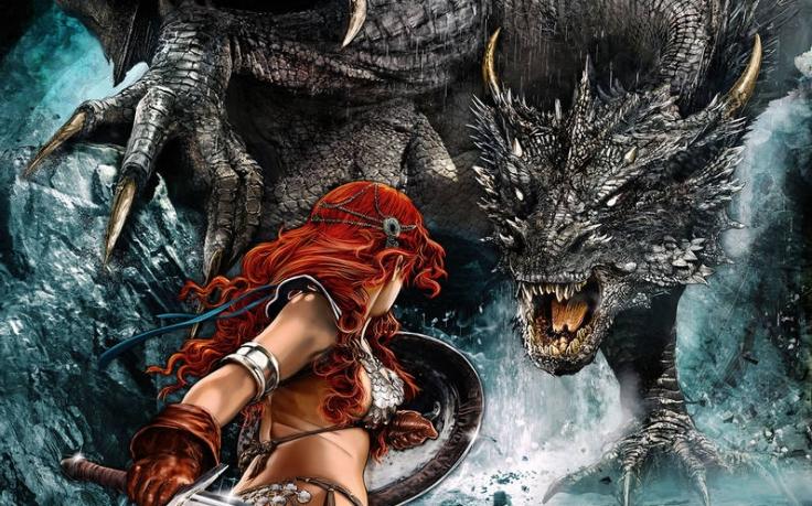 Leicht bekleidete Kriegerin kämpft gegen Drachen