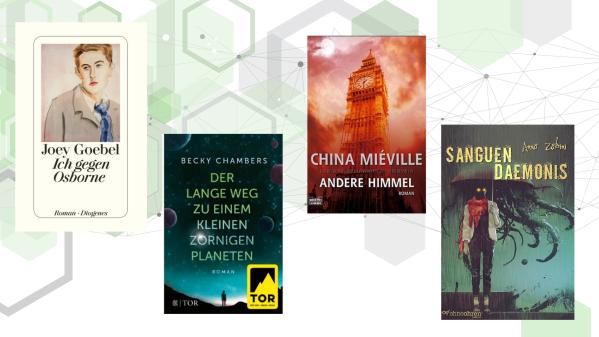 """Cover zu den Romanen """"Ich gegen Osborne"""" von Joey Goebel, """"Der lange Weg zu einem kleinen zornigen Planeten"""" von Becky Chambers, """"Andere Himmel"""" von China Miéville und """"Sanguen Daemonis"""" von Anna Zabini"""