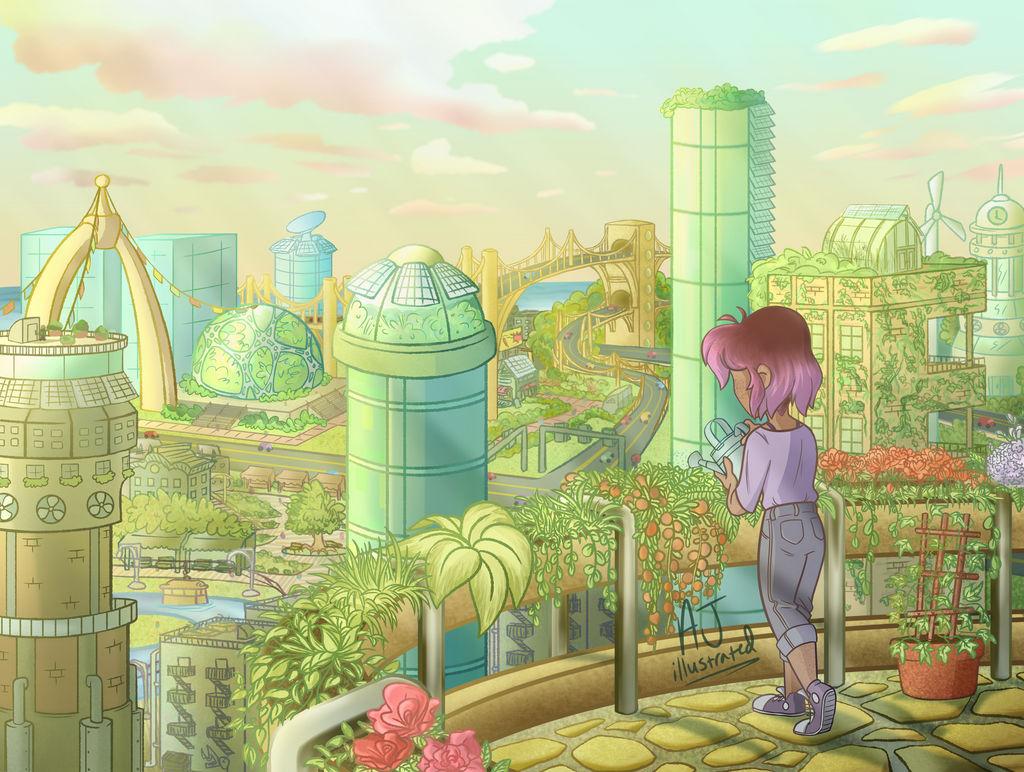 Eine Person gießt Blumen vor dem Panorama einer grünen Zukunftsstadt. Comic-Stil.