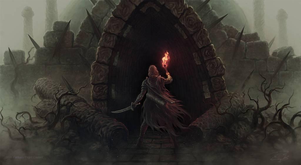 Held mit Schwert und Fackel steht inmitten von Ruinen vor einem finsteren Eingang